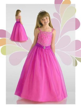 Pink girls pageant tulle gown