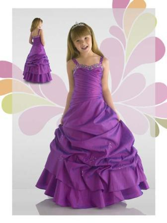 Purple taffeta ball gown