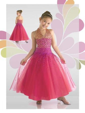 Little girls sequined halter pageant gown