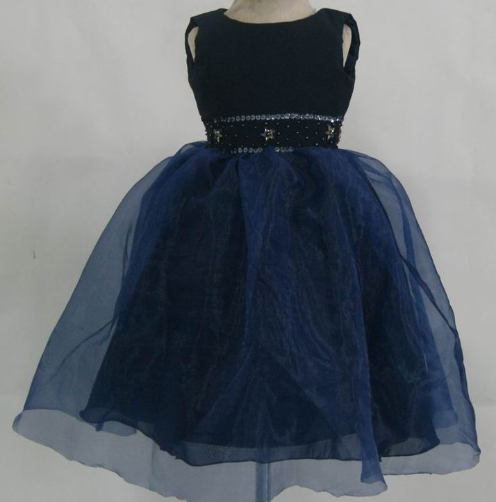 navy blue girls sleeveless dress in satin and organza