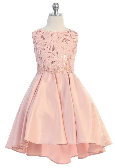 blush high low formal dress