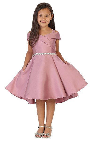 girls dusty rose off the shoulder dress