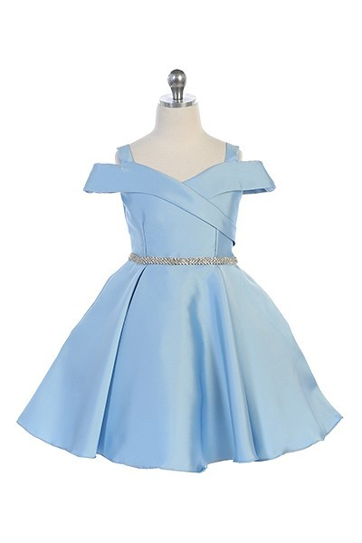 girls light blue off the shoulder dress