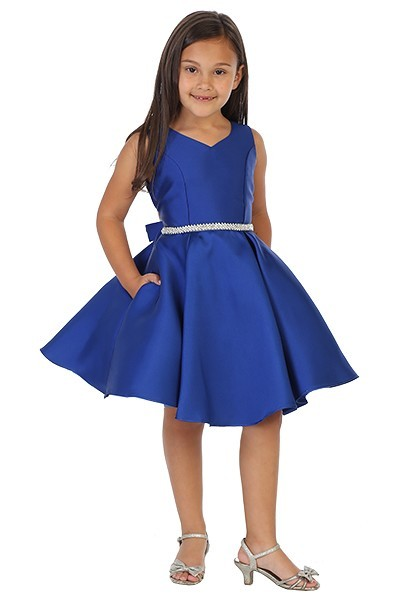 girls short royal blue dress