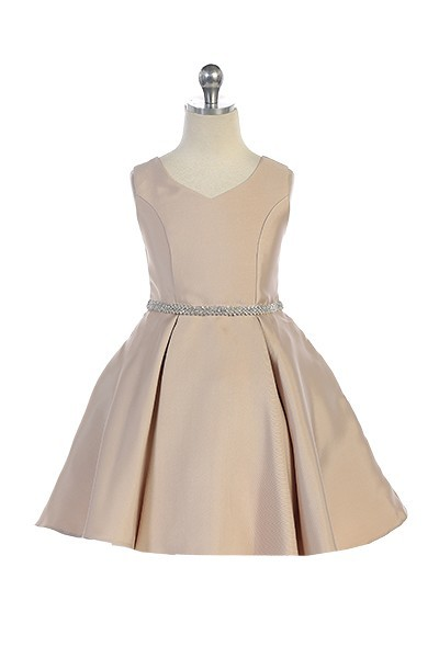 girls short taupe dress