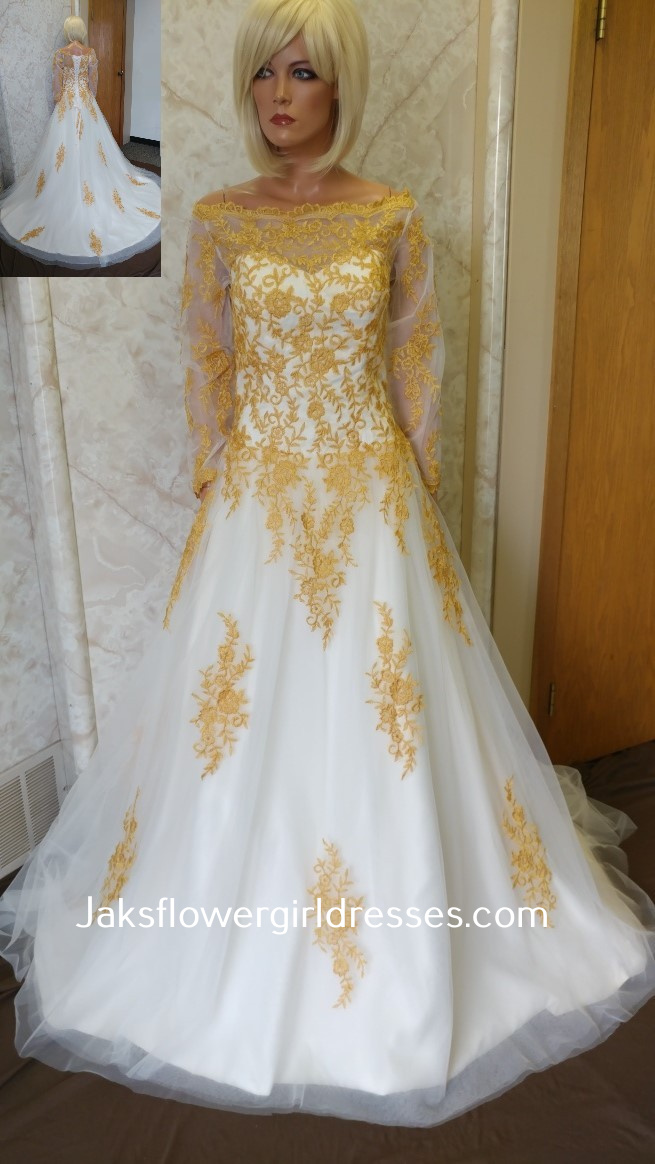 gold wedding dresses with sleeves