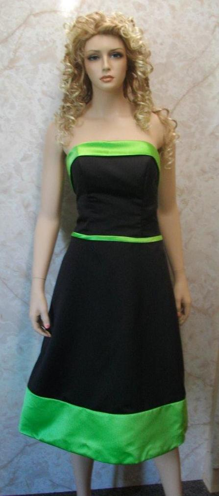 black bridesmaid dress with green trim