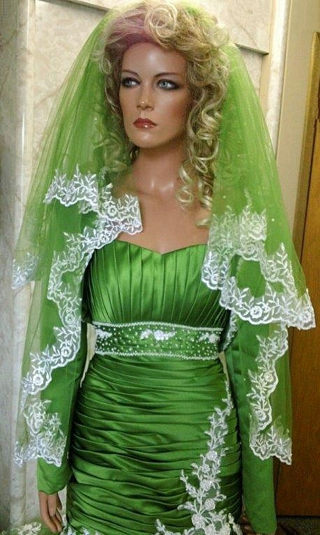 two tier green bridal veil