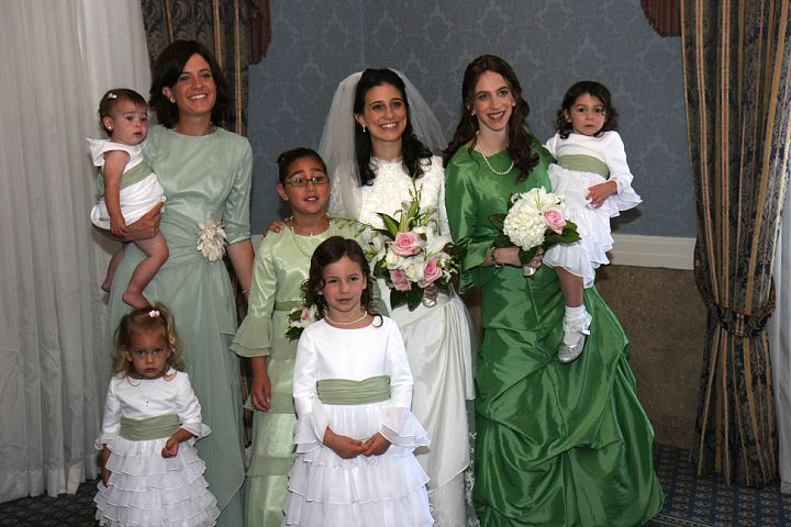 green white bridal party