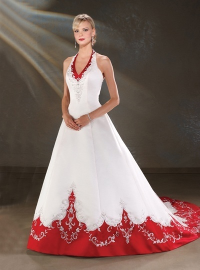 halter white and red wedding gown