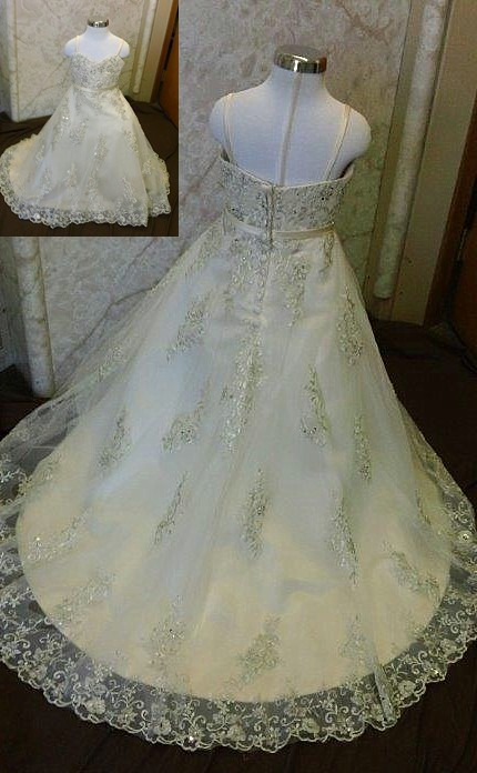 flower girl dress with lace applique