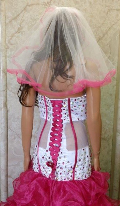 pink trimmed wedding veil