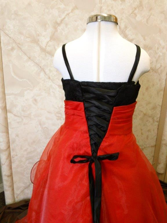 red and black flower girl dress