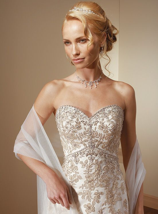 Allover Lace wedding gown - rhinestone wedding gown.
