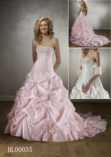 strapless pickup pink wedding ball gown