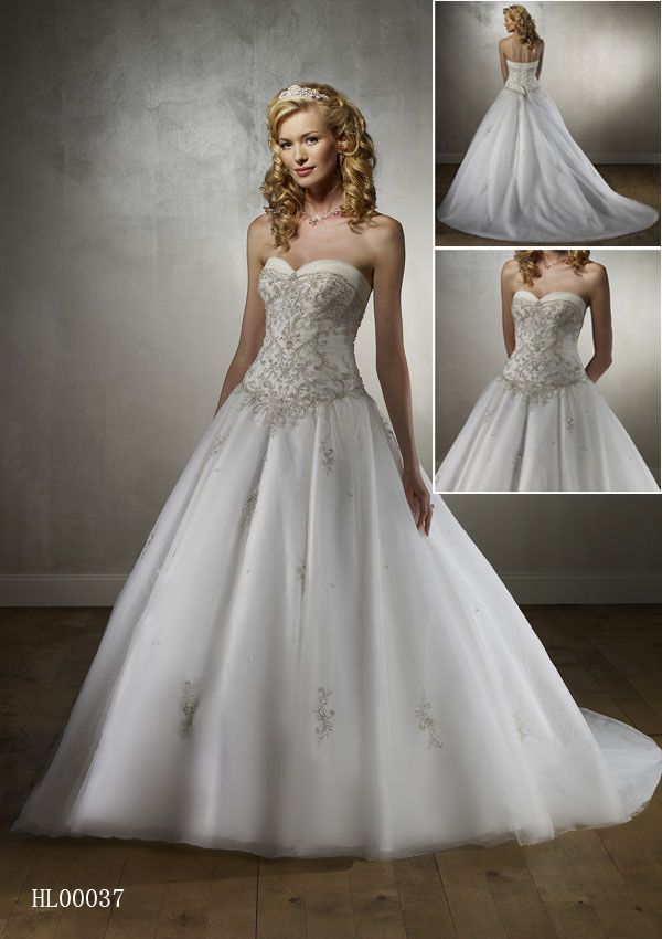 sweetheart strapless neckline with embroidery overlaying the bodice