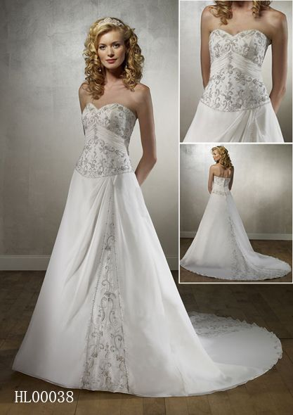 sweetheart basque wedding gown