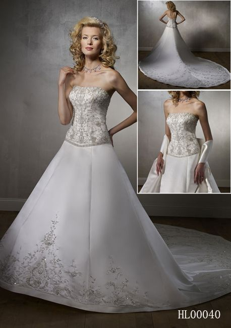 Elaborate embroidery strapless wedding dress