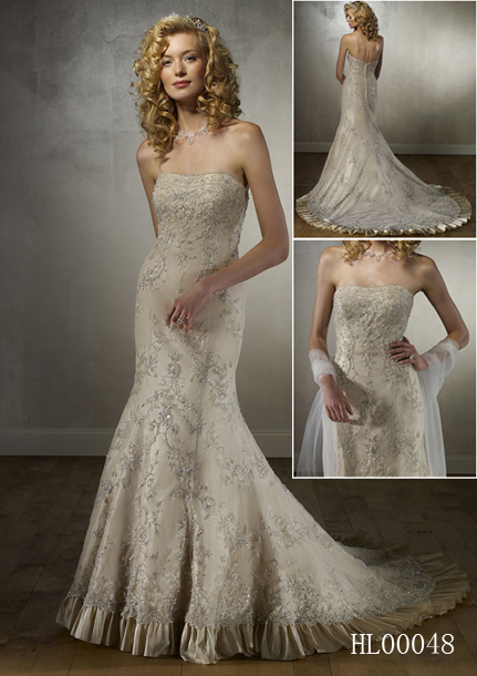 richly embroidery strapless wedding dress