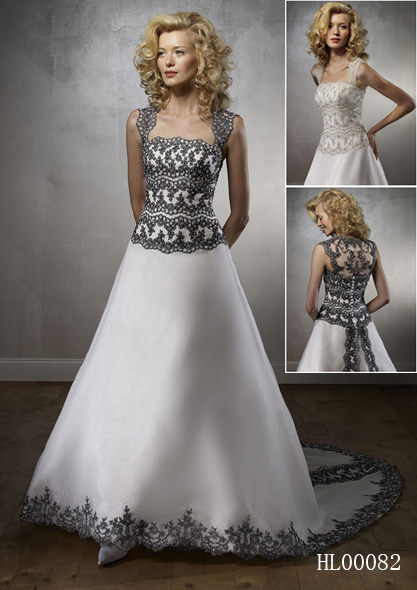 white wedding gown with black lace