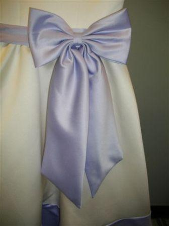 Light ivory two tone flower girl dresses witn orchid sash