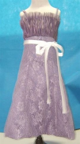 Victorian Lilac lace spaghetti strap tea length dress with white sash