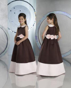 chocolate brown dresses with pink sash