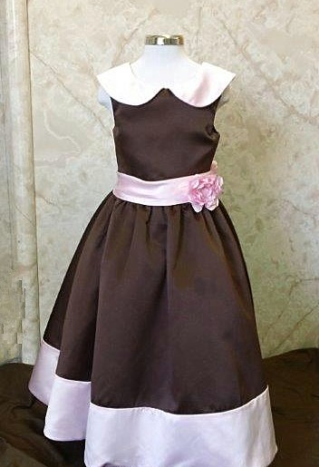 chocolate brown dresses with a pink sash