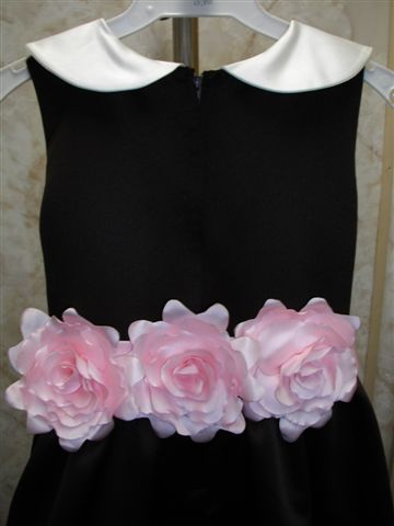chocolate brown dress with roses on sash
