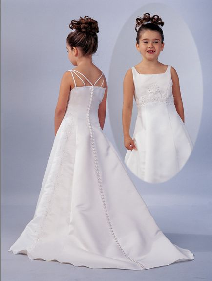 flower girl dress with spaghetti strap back