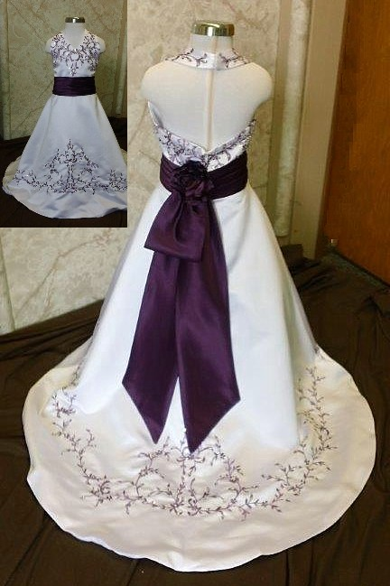 white and grape flower girl dress