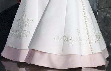 two layer skirt of pink and white dress