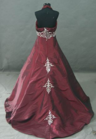 Burgundy pleated halter pageant dress