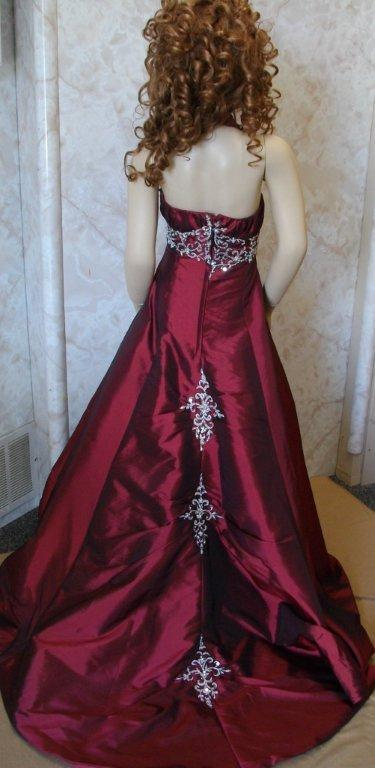 Long burgundy pageant dress with train