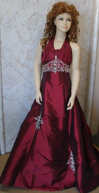 Burgundy And Silver Bridesmaid Dress