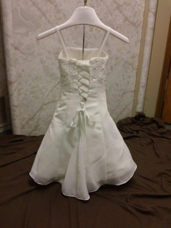 tiny flower girl bride with corset back dress