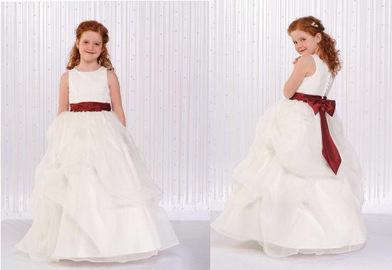 white and red girls dress