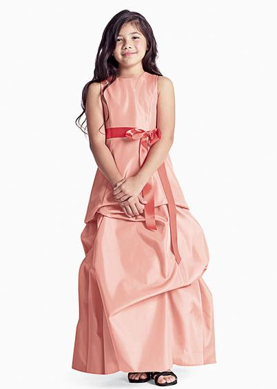 orange long junior bridesmaid dresses