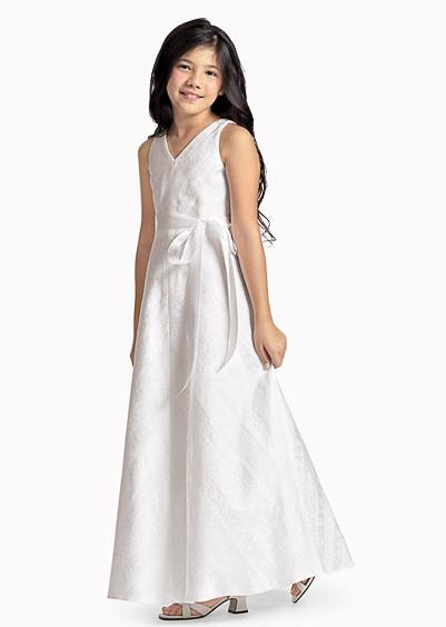A Line V neck Floor length children's bridesmaid dress
