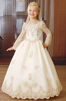 Long sleeve flower girl dress with scalloped lace