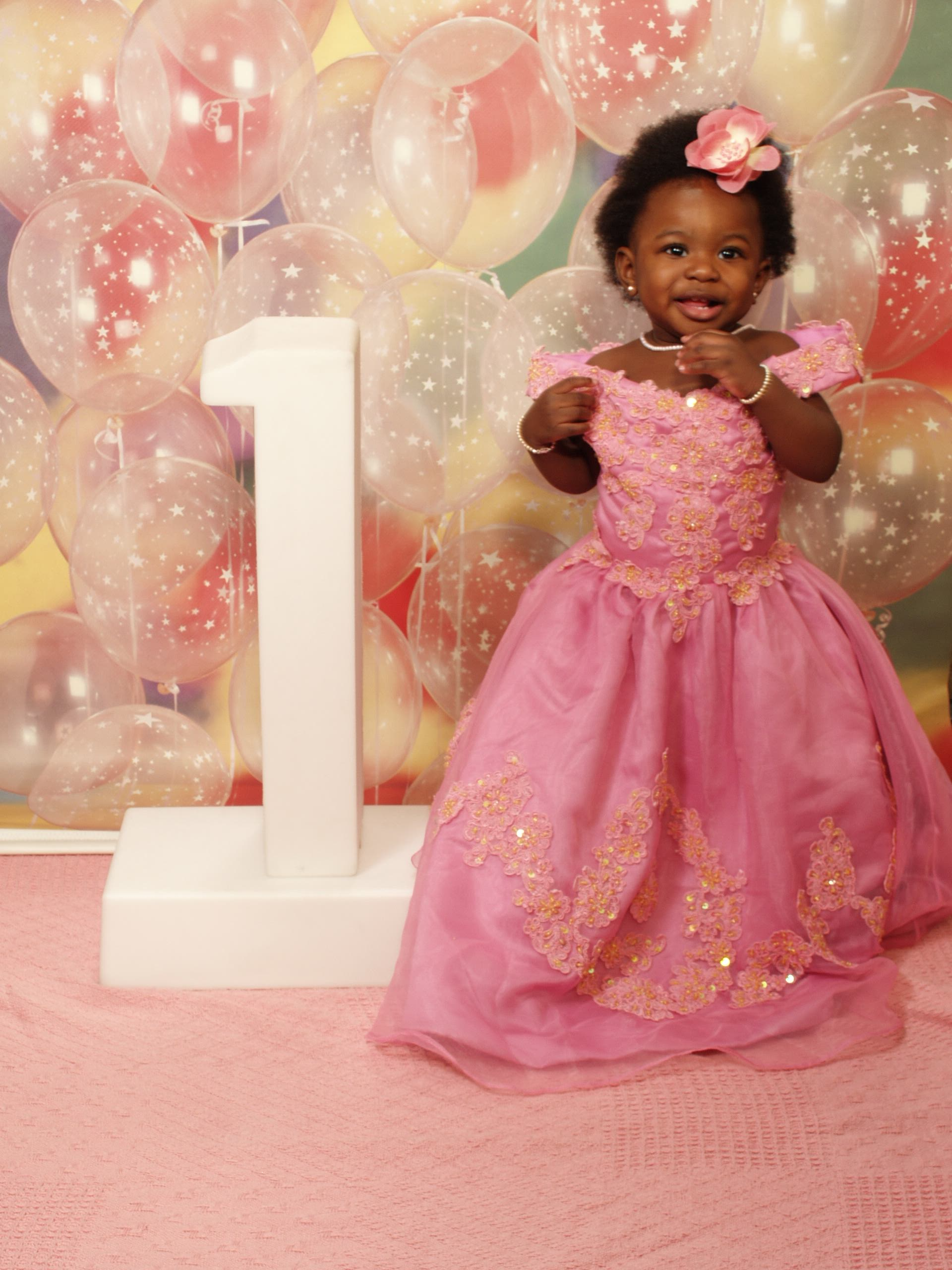 pink colonial birthday dress