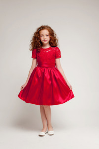 red girls lace holiday dresses