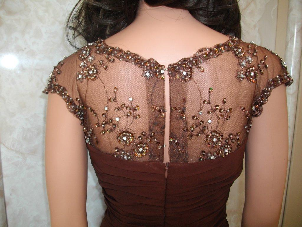chocolate brown chiffon gown
