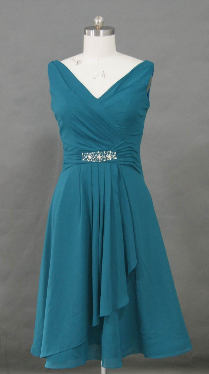 teal tea length mother of bride dress