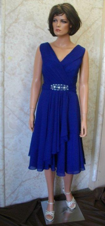 knee length royal blue mother of the bride dress
