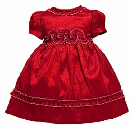 short sleeve red infant dress