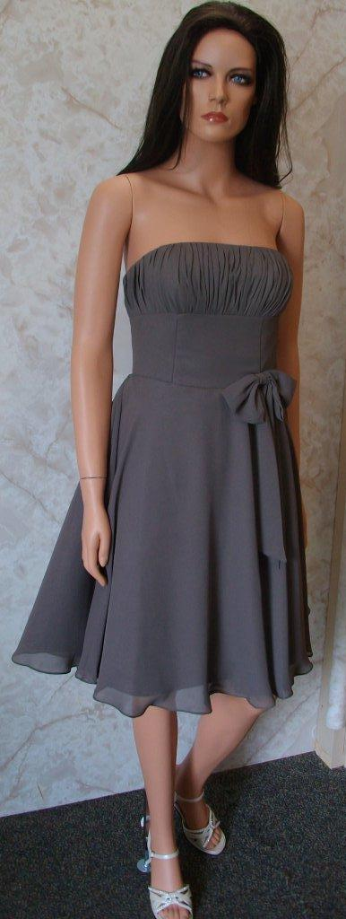 charcoal grey chiffon bridesmaid dress