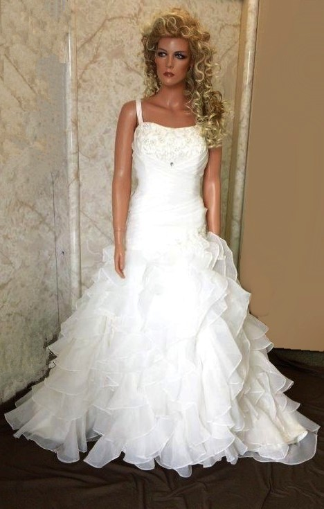 Ruched draped wedding gown