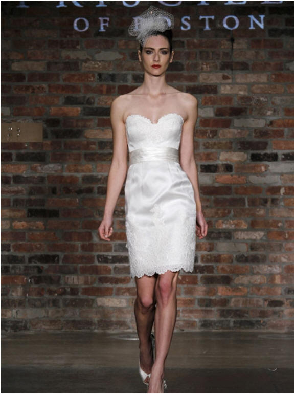 Short sweetheart white wedding gown
