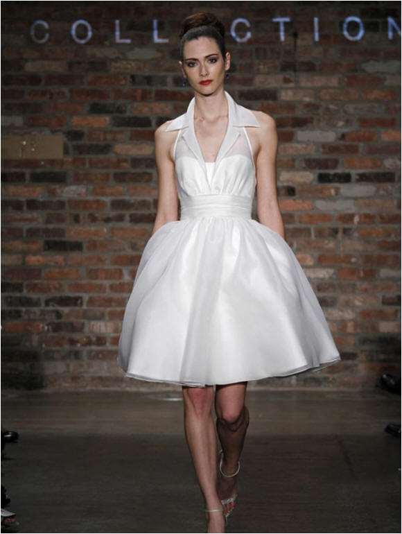 wedding dress with shirt collar neckline